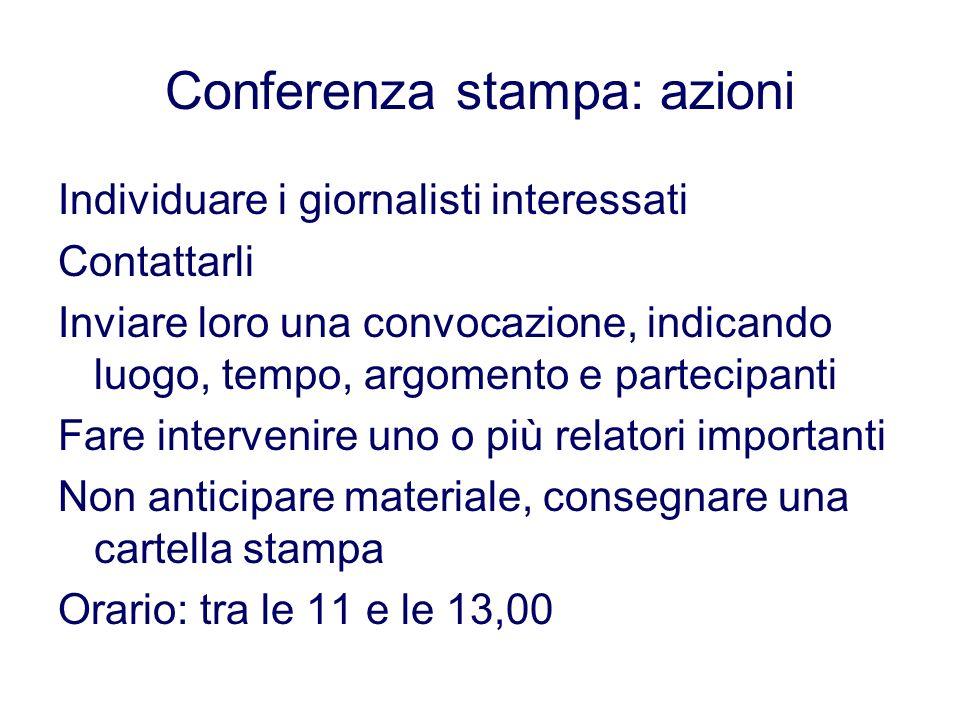 Conferenza stampa: azioni