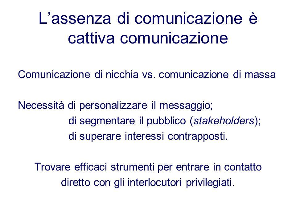 L'assenza di comunicazione è cattiva comunicazione