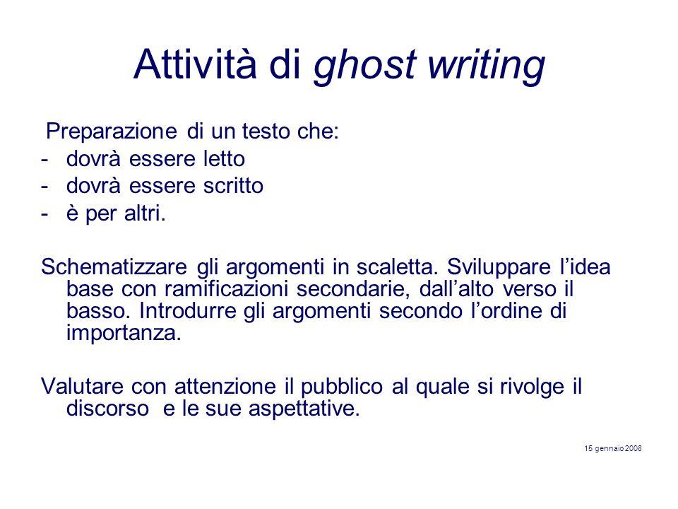 Attività di ghost writing