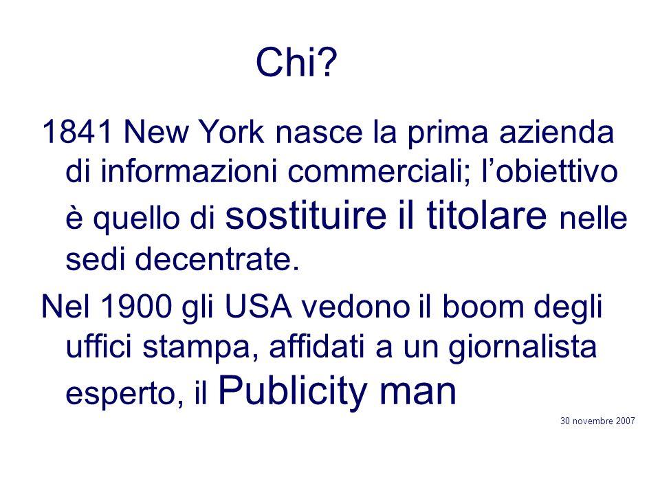 Chi 1841 New York nasce la prima azienda di informazioni commerciali; l'obiettivo è quello di sostituire il titolare nelle sedi decentrate.