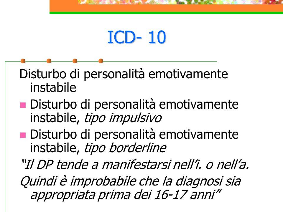 ICD- 10 Disturbo di personalità emotivamente instabile