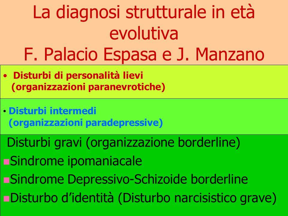 La diagnosi strutturale in età evolutiva F. Palacio Espasa e J. Manzano