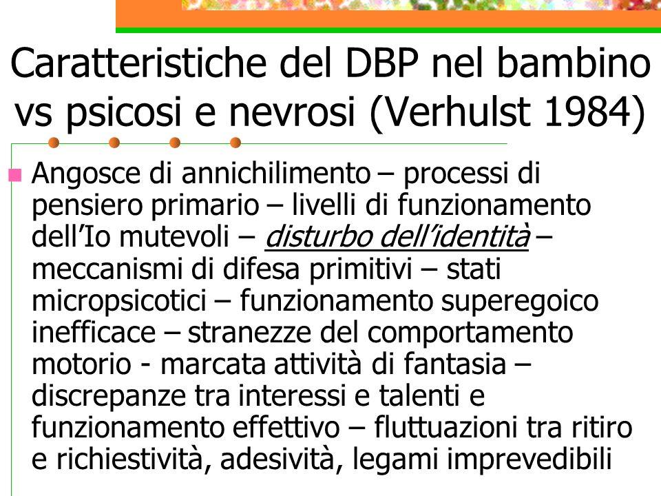 Caratteristiche del DBP nel bambino vs psicosi e nevrosi (Verhulst 1984)