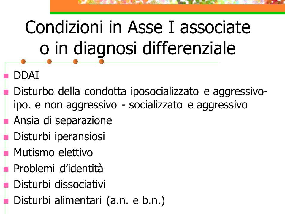 Condizioni in Asse I associate o in diagnosi differenziale