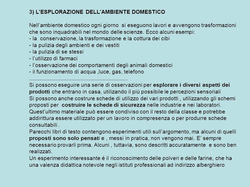 3) L'ESPLORAZIONE DELL'AMBIENTE DOMESTICO