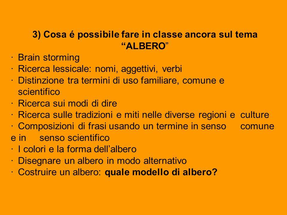 3) Cosa é possibile fare in classe ancora sul tema ALBERO