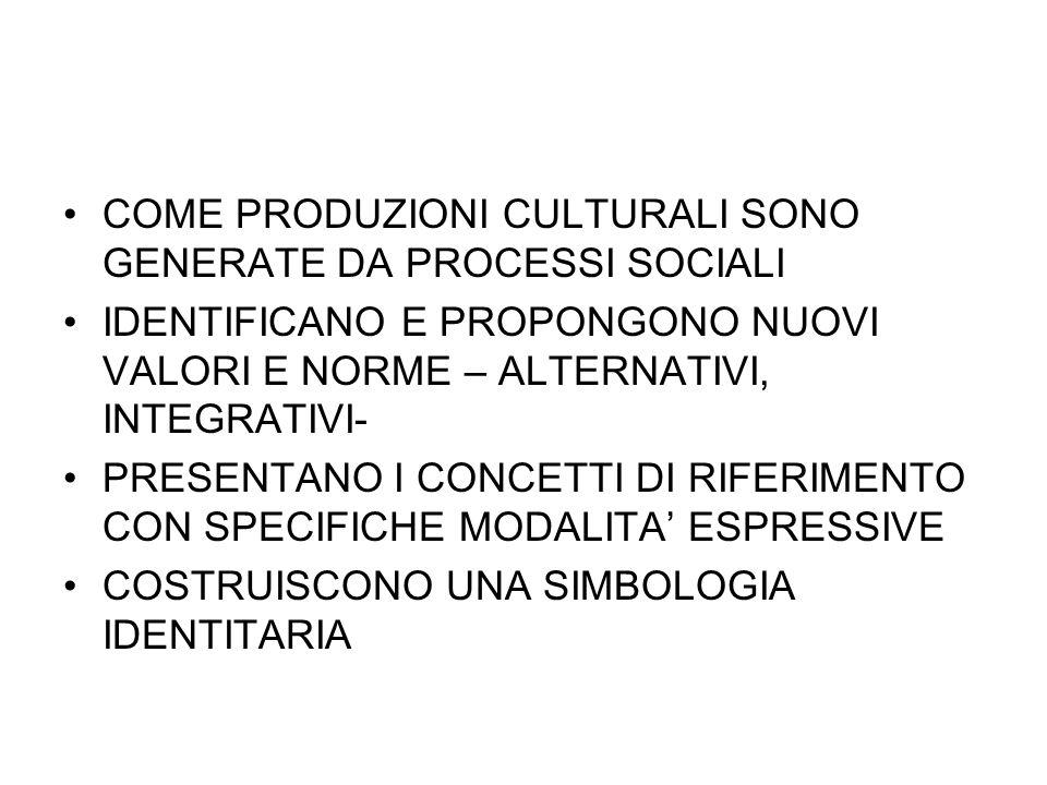 COME PRODUZIONI CULTURALI SONO GENERATE DA PROCESSI SOCIALI