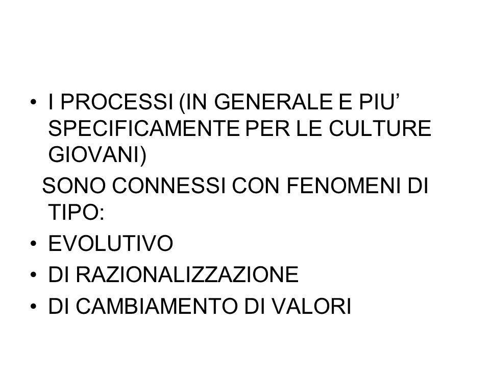 I PROCESSI (IN GENERALE E PIU' SPECIFICAMENTE PER LE CULTURE GIOVANI)