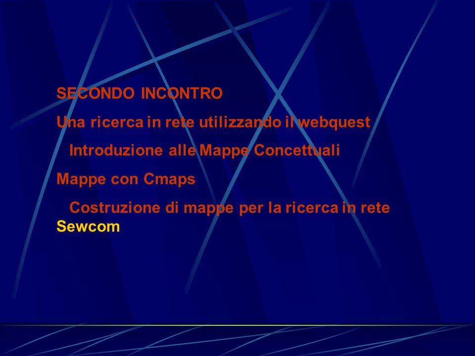SECONDO INCONTRO Una ricerca in rete utilizzando il webquest. Introduzione alle Mappe Concettuali.