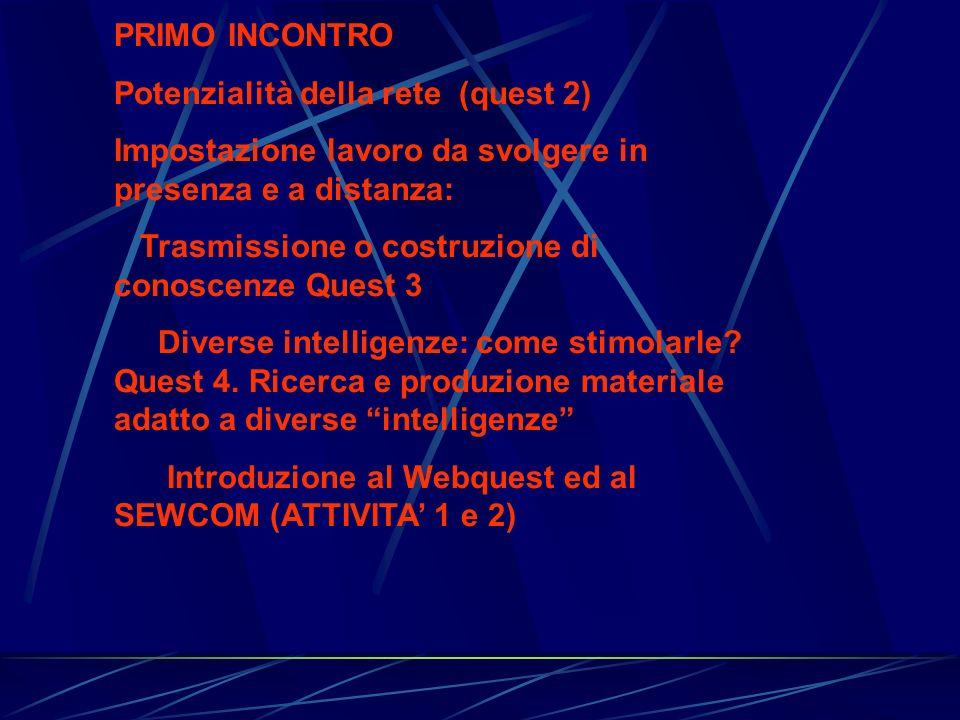 PRIMO INCONTRO Potenzialità della rete (quest 2) Impostazione lavoro da svolgere in presenza e a distanza: