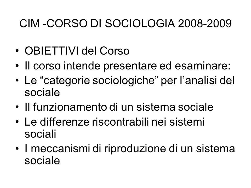 CIM -CORSO DI SOCIOLOGIA 2008-2009