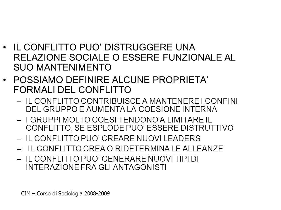 POSSIAMO DEFINIRE ALCUNE PROPRIETA' FORMALI DEL CONFLITTO