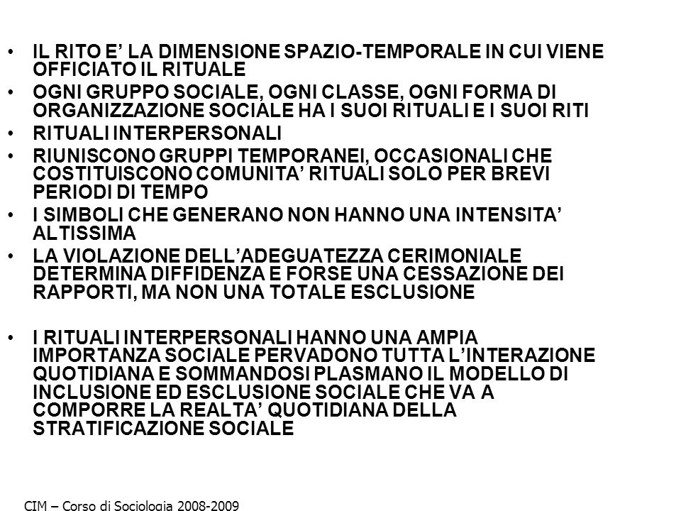 RITUALI INTERPERSONALI