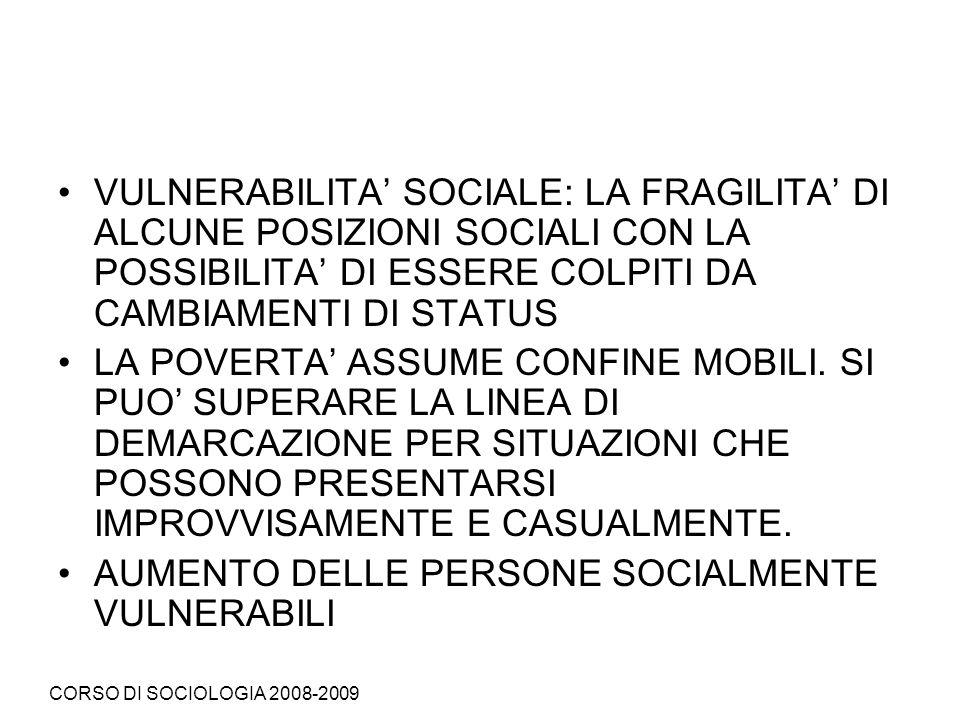 AUMENTO DELLE PERSONE SOCIALMENTE VULNERABILI