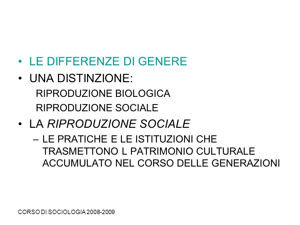 LE DIFFERENZE DI GENERE UNA DISTINZIONE:
