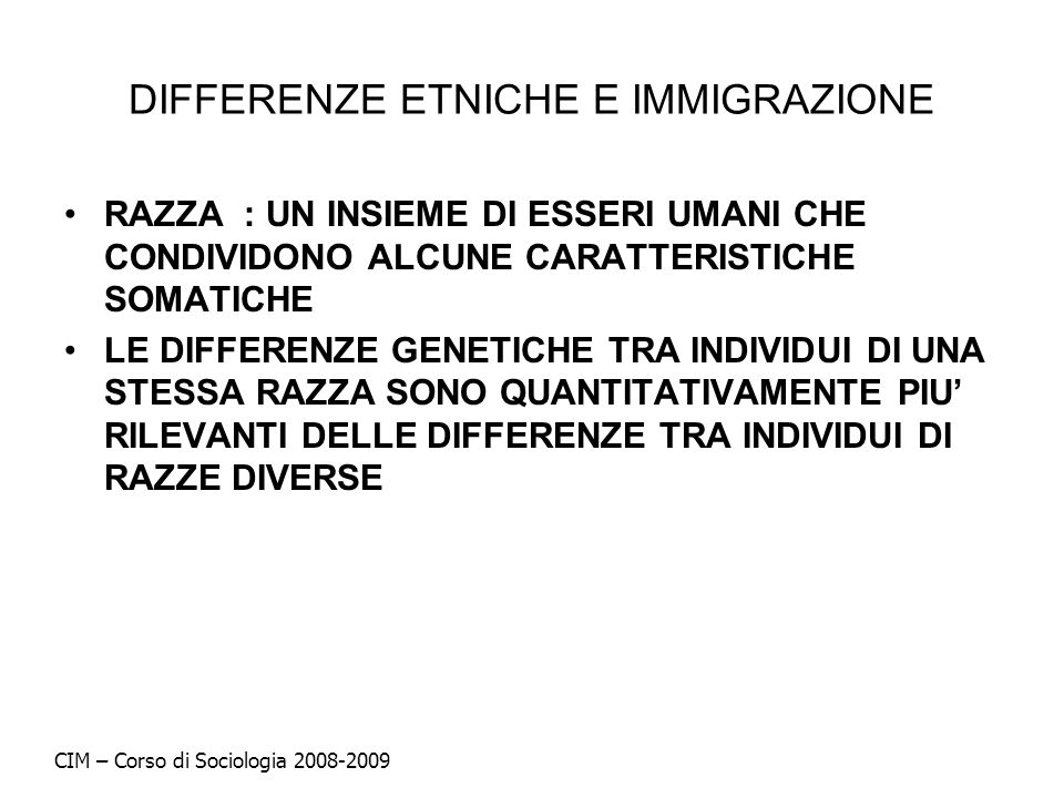 DIFFERENZE ETNICHE E IMMIGRAZIONE