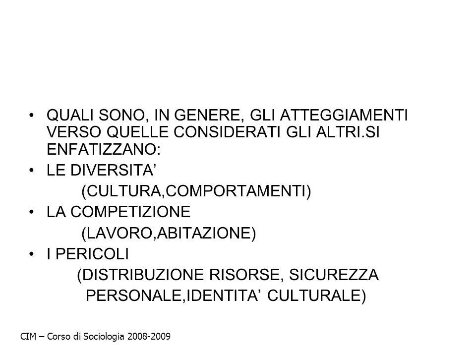(CULTURA,COMPORTAMENTI) LA COMPETIZIONE (LAVORO,ABITAZIONE) I PERICOLI