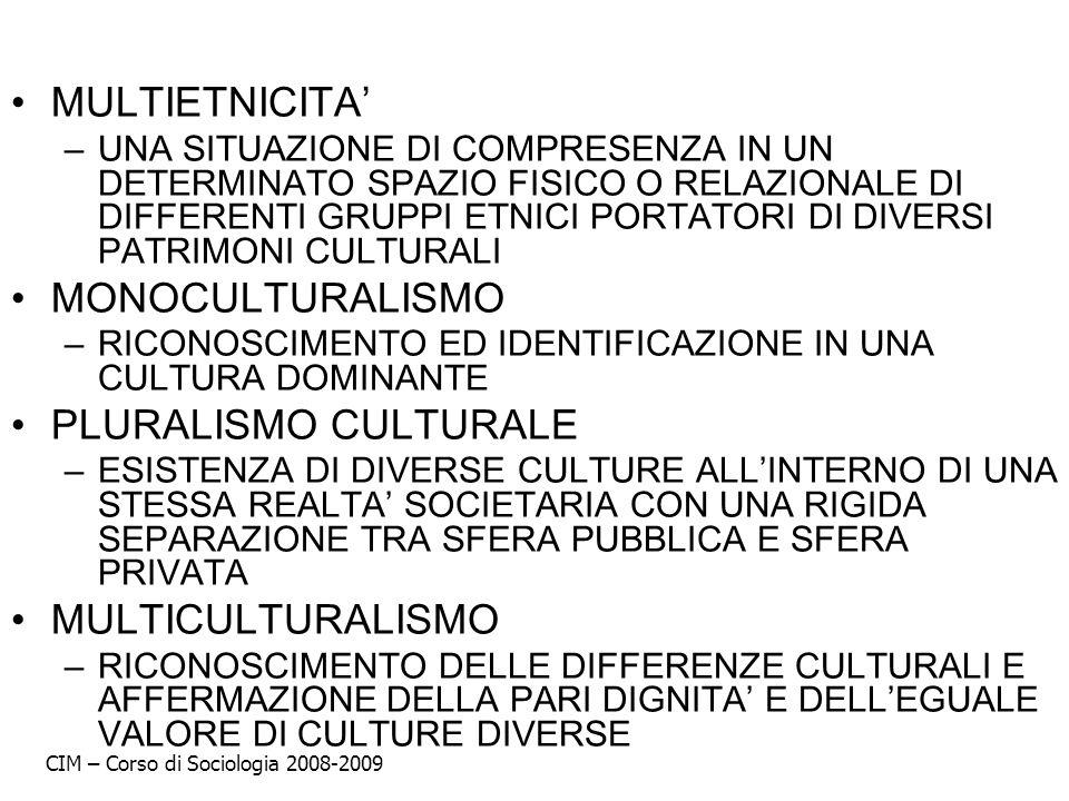 MULTIETNICITA' MONOCULTURALISMO PLURALISMO CULTURALE MULTICULTURALISMO