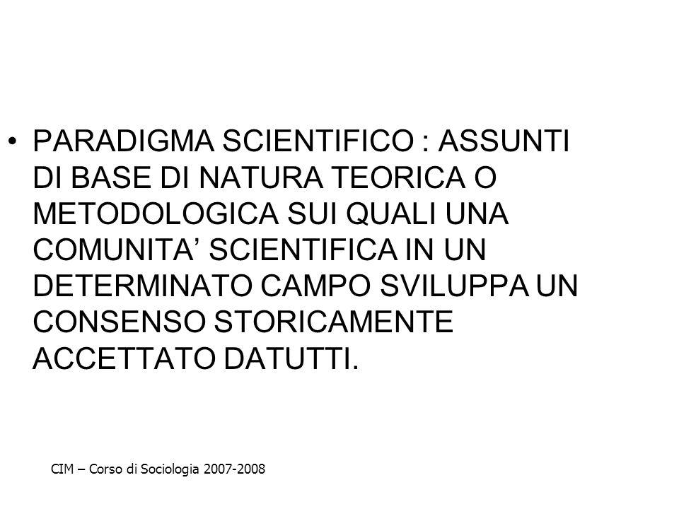 PARADIGMA SCIENTIFICO : ASSUNTI DI BASE DI NATURA TEORICA O METODOLOGICA SUI QUALI UNA COMUNITA' SCIENTIFICA IN UN DETERMINATO CAMPO SVILUPPA UN CONSENSO STORICAMENTE ACCETTATO DATUTTI.