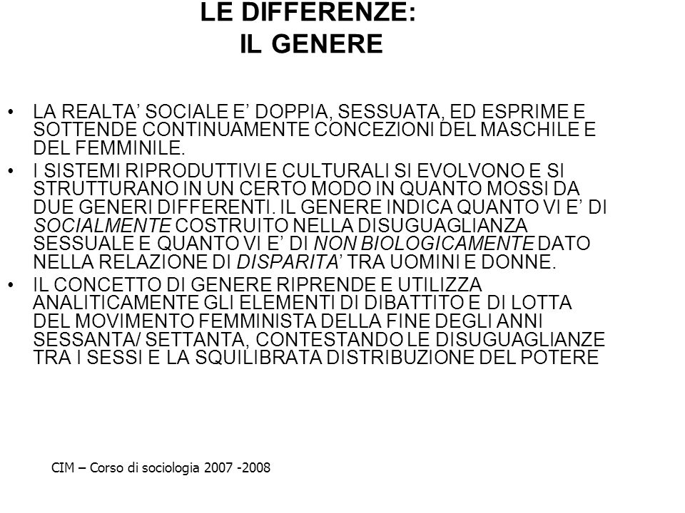 LE DIFFERENZE: IL GENERE