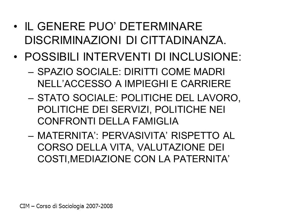 IL GENERE PUO' DETERMINARE DISCRIMINAZIONI DI CITTADINANZA.