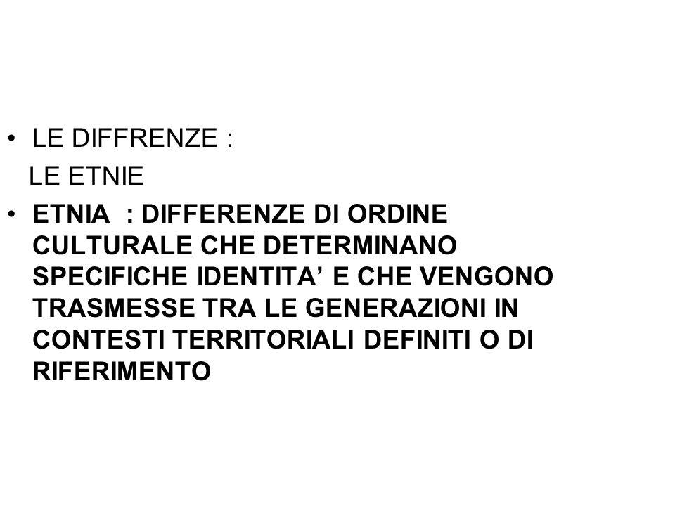LE DIFFRENZE : LE ETNIE.