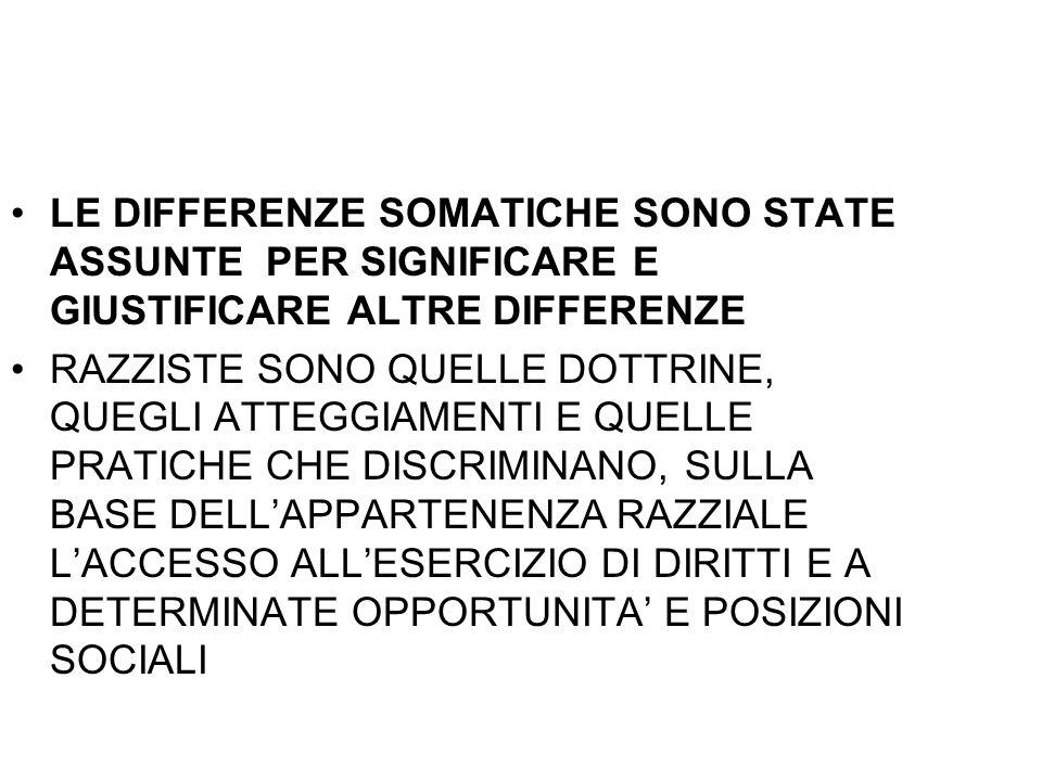LE DIFFERENZE SOMATICHE SONO STATE ASSUNTE PER SIGNIFICARE E GIUSTIFICARE ALTRE DIFFERENZE