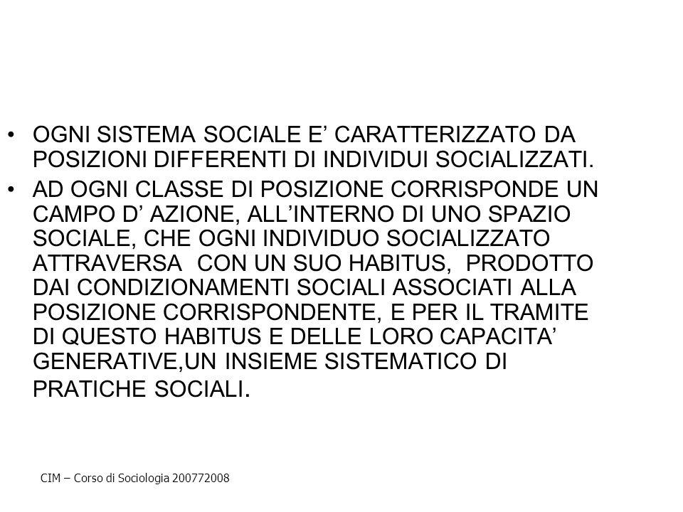 OGNI SISTEMA SOCIALE E' CARATTERIZZATO DA POSIZIONI DIFFERENTI DI INDIVIDUI SOCIALIZZATI.