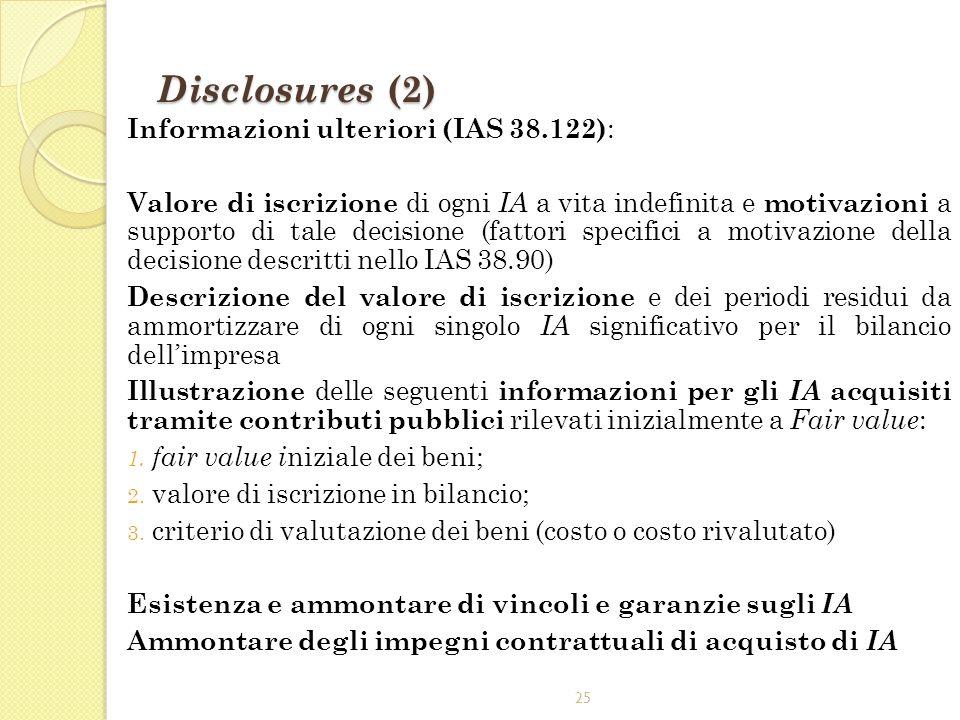 Disclosures (2) Informazioni ulteriori (IAS 38.122):