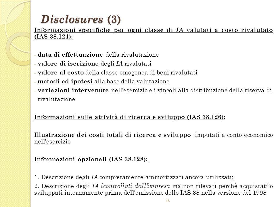 Disclosures (3) Informazioni specifiche per ogni classe di IA valutati a costo rivalutato (IAS 38.124):