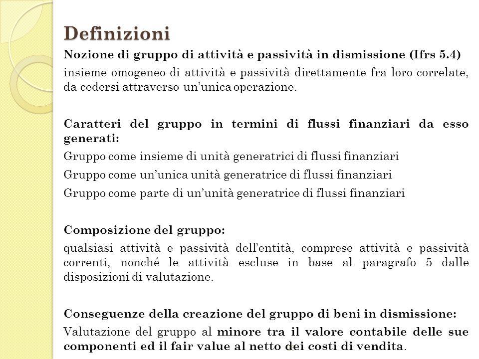 DefinizioniNozione di gruppo di attività e passività in dismissione (Ifrs 5.4)