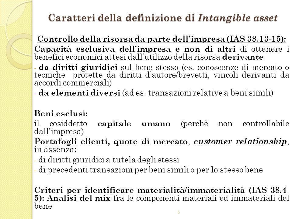 Caratteri della definizione di Intangible asset