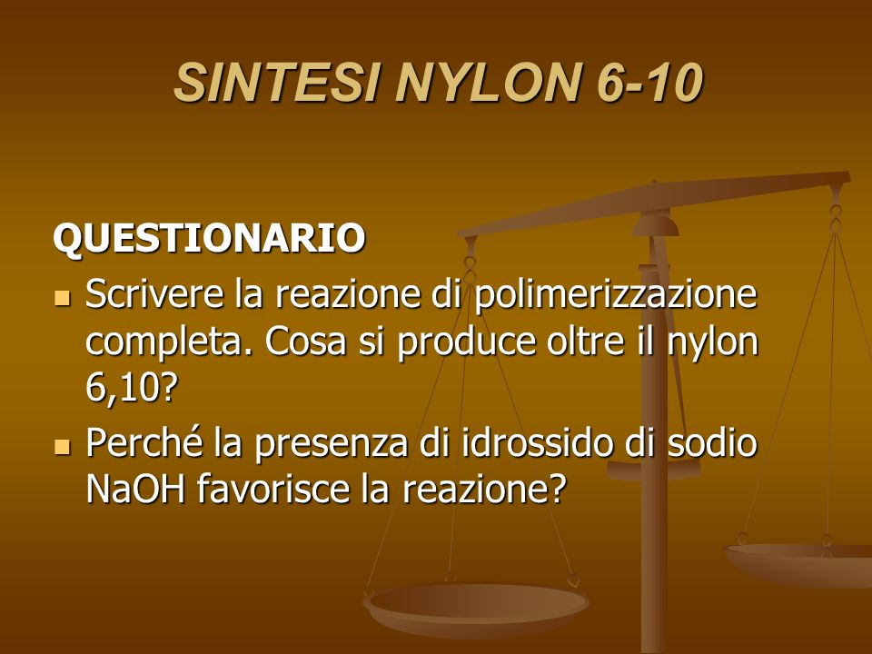 SINTESI NYLON 6-10 QUESTIONARIO