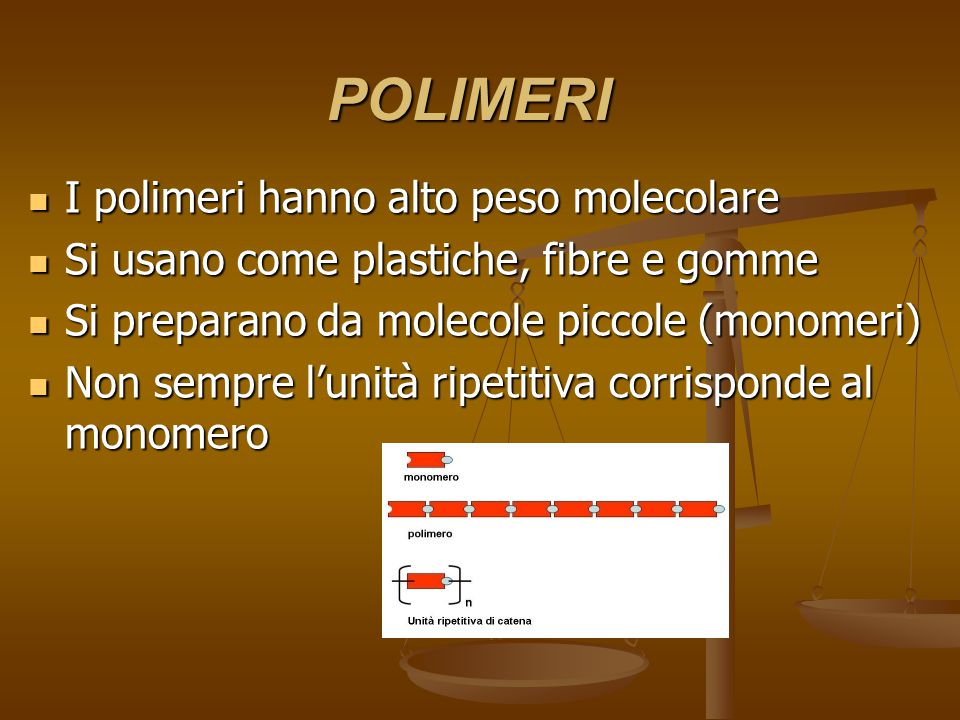 POLIMERI I polimeri hanno alto peso molecolare