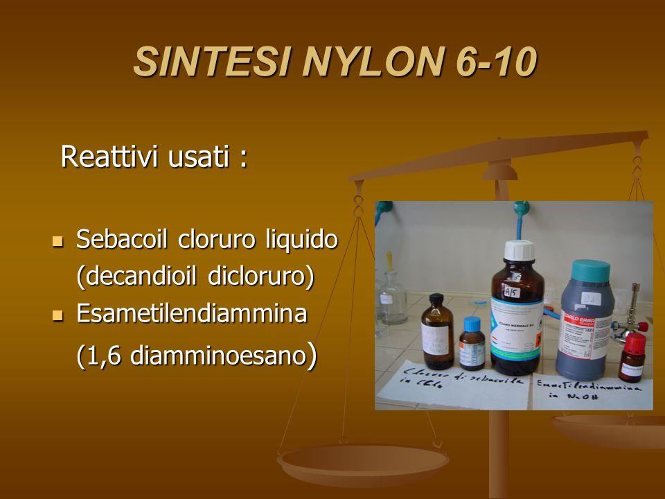 SINTESI NYLON 6-10 Reattivi usati : Sebacoil cloruro liquido