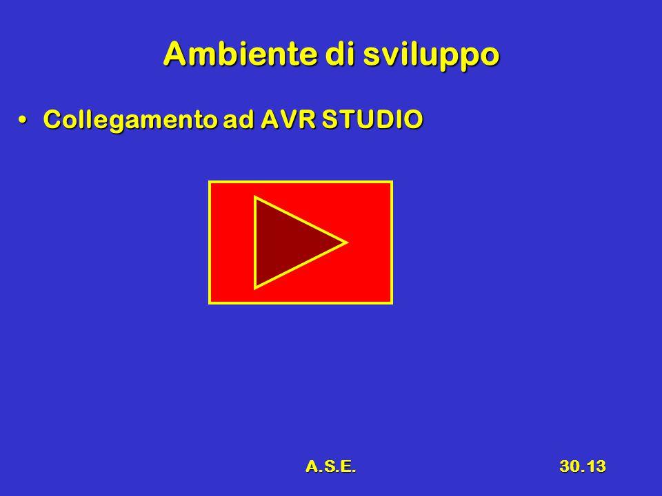 Ambiente di sviluppo Collegamento ad AVR STUDIO A.S.E.