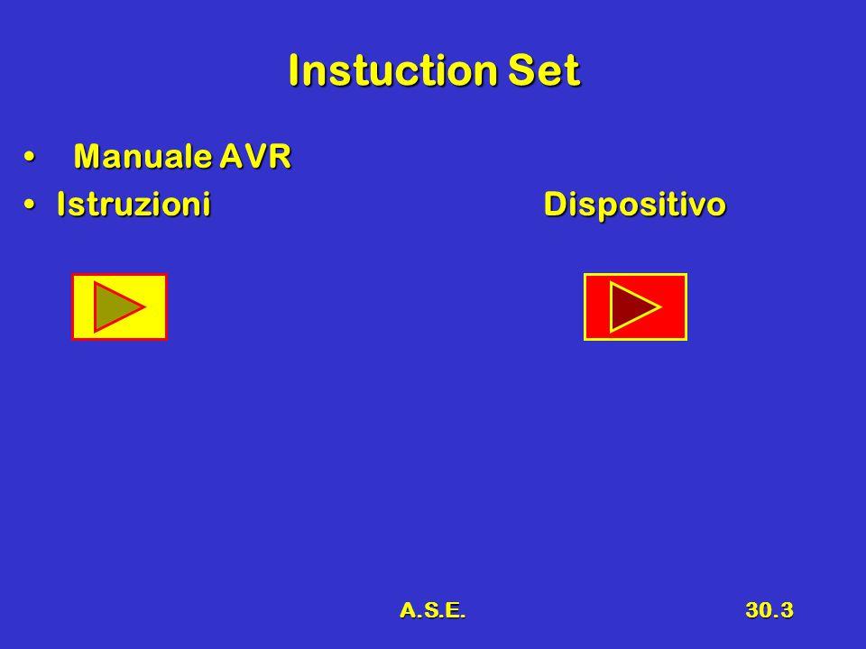 Instuction Set Manuale AVR Istruzioni Dispositivo A.S.E.