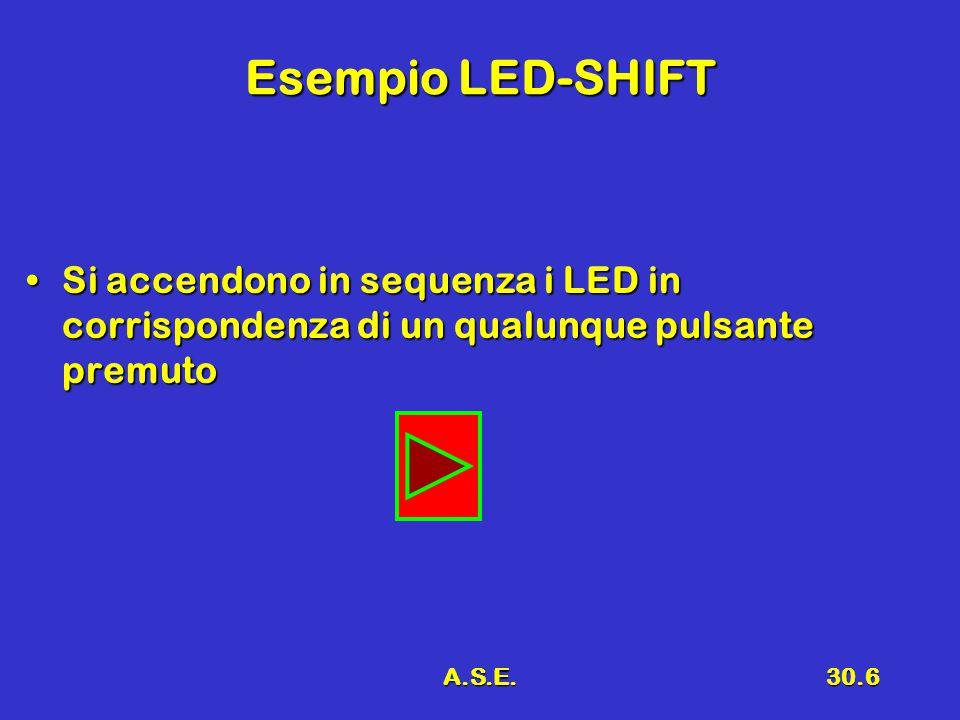 Esempio LED-SHIFT Si accendono in sequenza i LED in corrispondenza di un qualunque pulsante premuto.