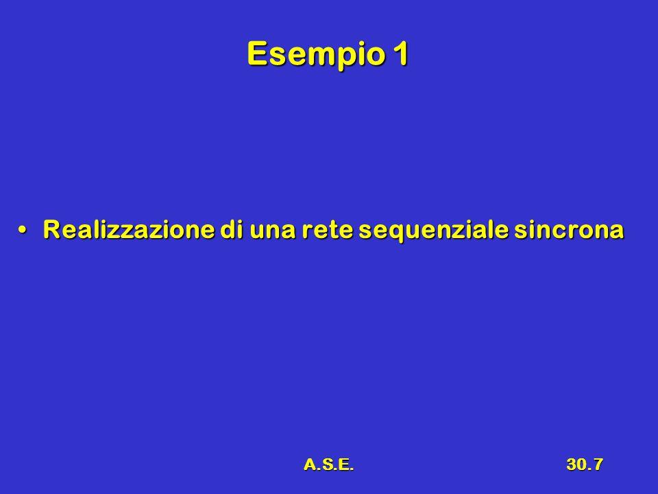 Esempio 1 Realizzazione di una rete sequenziale sincrona A.S.E.