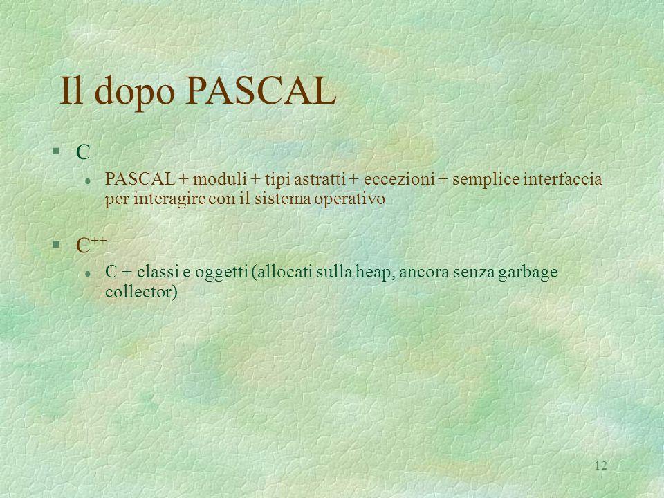 Il dopo PASCALC. PASCAL + moduli + tipi astratti + eccezioni + semplice interfaccia per interagire con il sistema operativo.