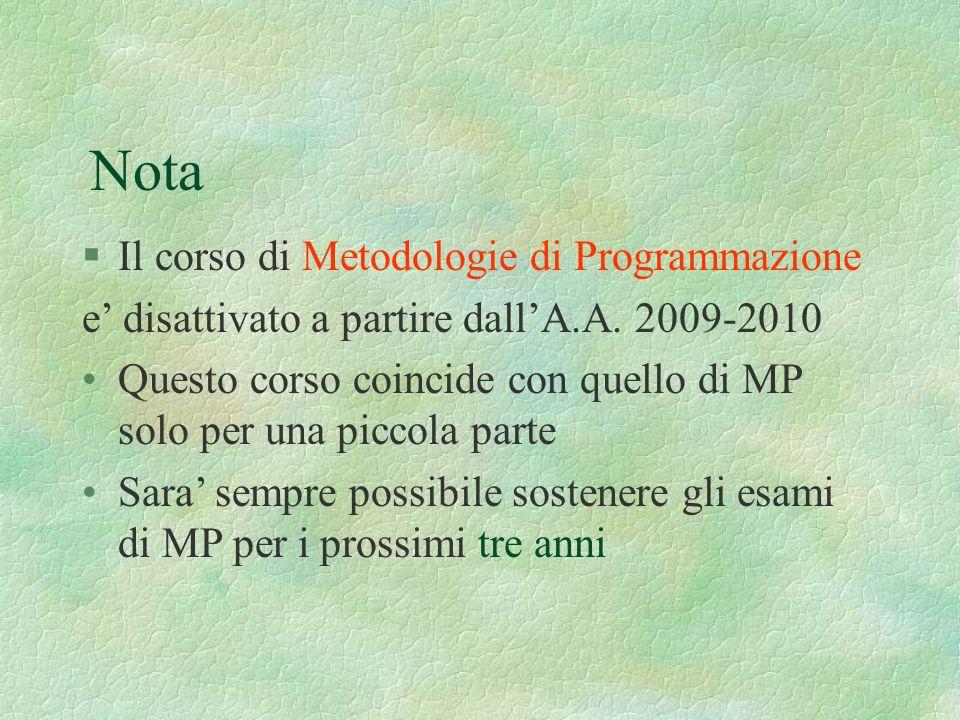Nota Il corso di Metodologie di Programmazione