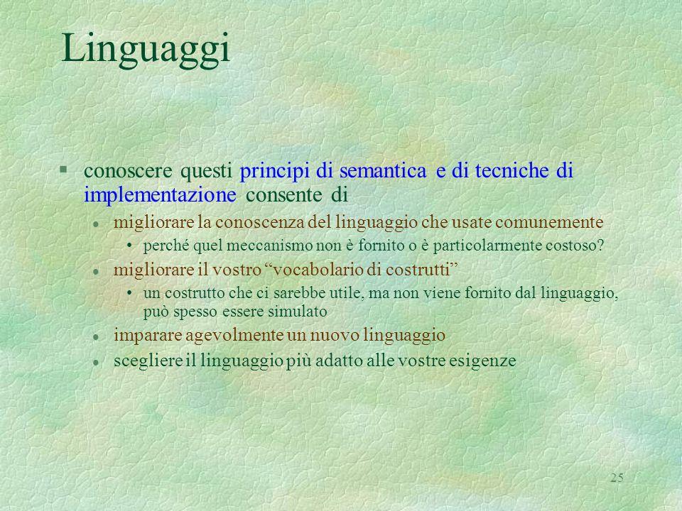 Linguaggiconoscere questi principi di semantica e di tecniche di implementazione consente di.