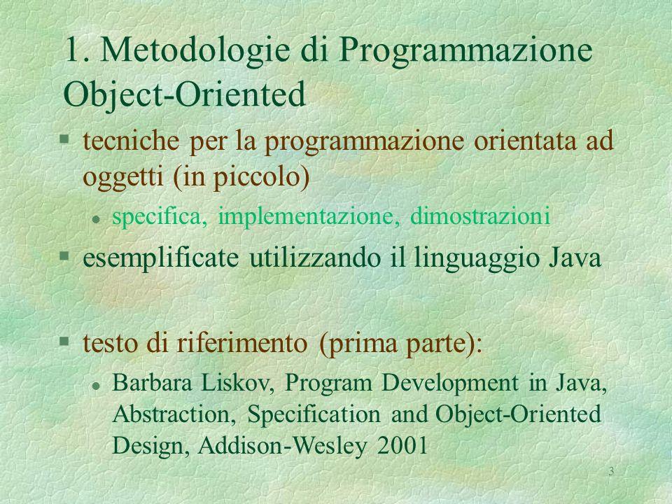 1. Metodologie di Programmazione Object-Oriented