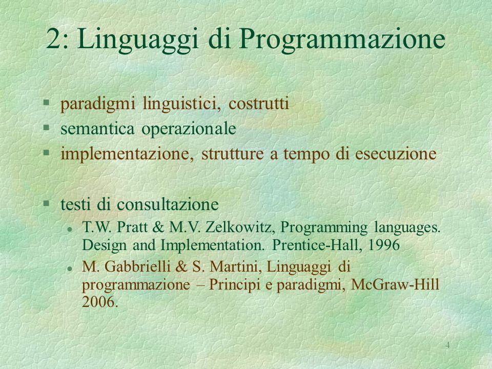 2: Linguaggi di Programmazione