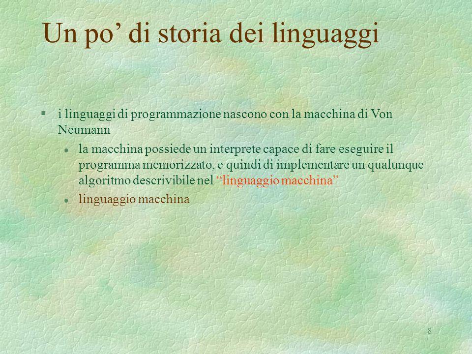 Un po' di storia dei linguaggi