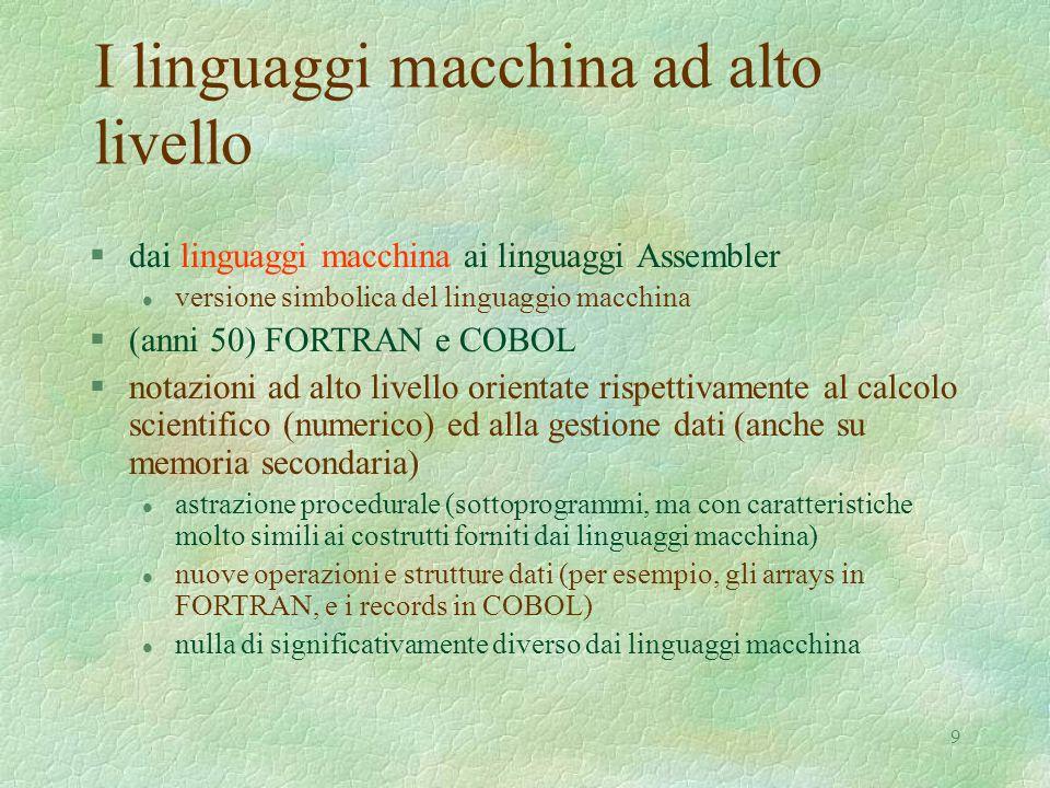 I linguaggi macchina ad alto livello