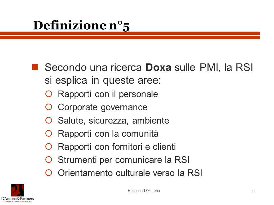 Definizione n°5 Secondo una ricerca Doxa sulle PMI, la RSI si esplica in queste aree: Rapporti con il personale.