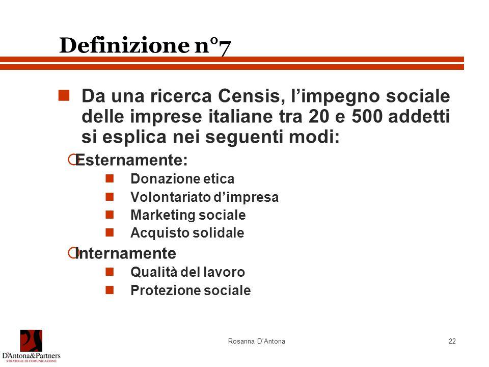 Definizione n°7 Da una ricerca Censis, l'impegno sociale delle imprese italiane tra 20 e 500 addetti si esplica nei seguenti modi: