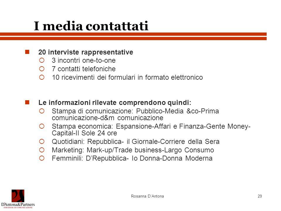 I media contattati 20 interviste rappresentative 3 incontri one-to-one