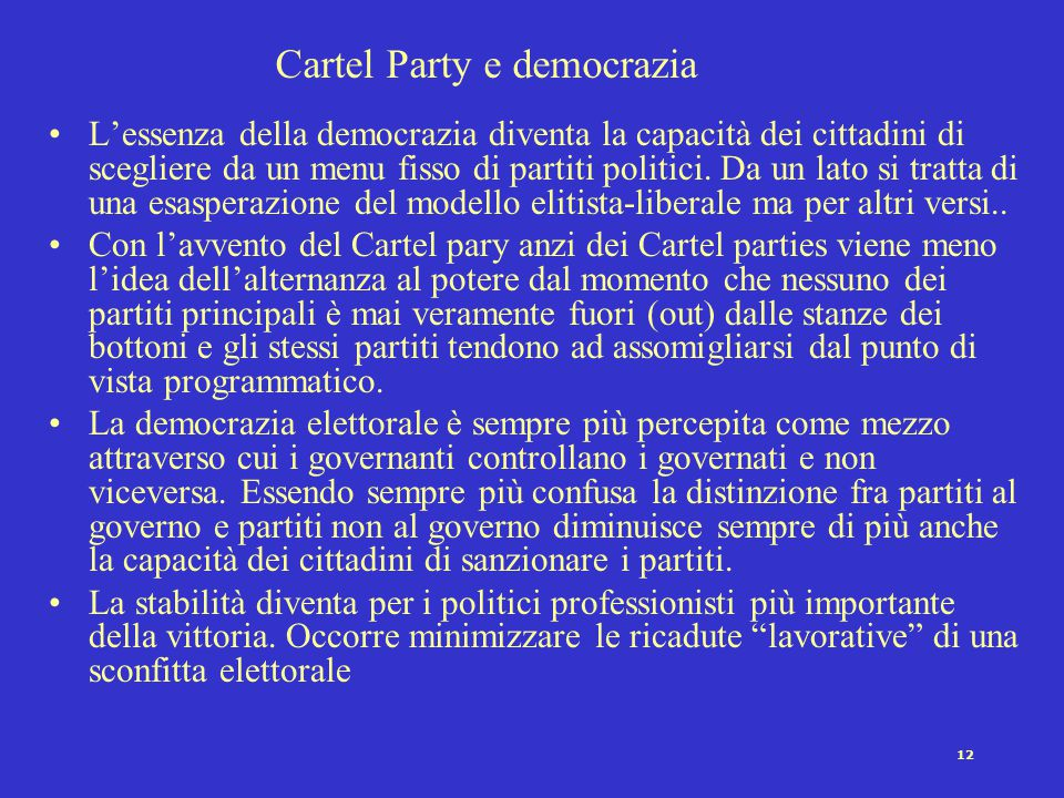 Cartel Party e democrazia